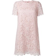 Dolce & Gabbana Lace Dress ($2,080) ❤ liked on Polyvore featuring dresses, pink, short sleeve lace dress, pink lace dress, short-sleeve shift dresses, short-sleeve dresses and scalloped dress