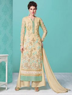 Cream Party Wear Embroidered Straight suit