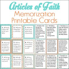 Article of Faith Memorization Printable Cards