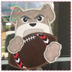 """SOFT BROWN W//EMBROIDERED DETAILS 2 5//8/""""W SPORTS FOOTBALL IRON ON PATCH 6.6CM"""