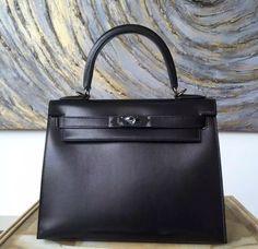 Limited Edition Hermes Kelly 28cm Box Calfskin Original Leather Bag Handstitched, SO BLACK - Shop Ms Fashion Junkie