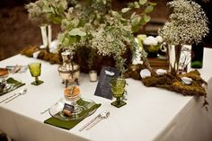 Earthy and Elegant Reception Table with Baby's Breath Centerpieces