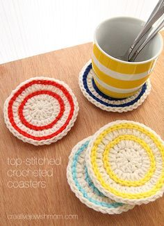 Crocheted coasters: top stitch stripes are super simple and these make a great crocheted gift together with a set of mugs!