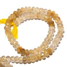 8mm Golden Rutilated Quartz Faceted Rondelle Beads, Gold Rutilated Quartz Rondelles, 14 Inch Strand, Sku-S40 by GemsDiamondsBySHIKHA on Etsy