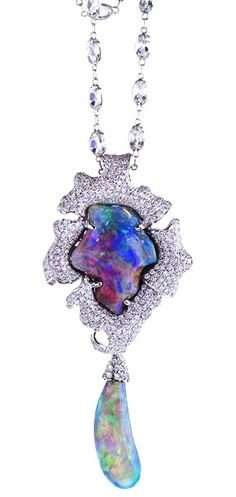 Katherine Jetter Lily Pendant I and II 19.26ct Lightning Ridge Black Opal set in handmade 18K White Gold pendant with Diamond pave, plus 9.61ct Opal attachment set in 18K White Gold with Diamonds.