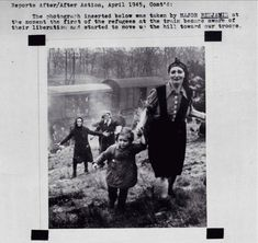 """Jewish prisoners at the moment of their liberation from an internment camp """"death train"""" near the Elbe in 1945."""