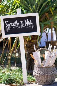 White Blackboard Picket Signage | Lovebird Weddings