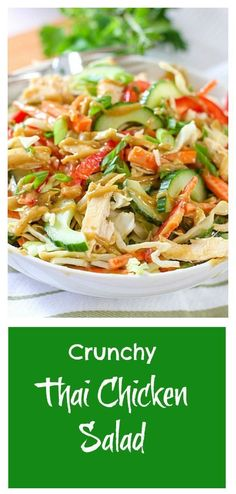 Crunchy Thai Chicken Salad with Peanut Dressing with Dressing, Creamy Peanut Butter, Rice Vinegar, Lime, Salada Light, Asian Recipes, Healthy Recipes, Thai Recipes, Healthy Salads, Thai Chicken Salad, Healthy Chicken, Clean Eating, Healthy Eating