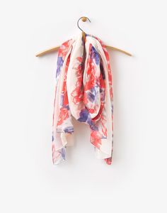 Wensley Cream Rose Invite Floral Woven Scarf , Size One Size | Joules UK
