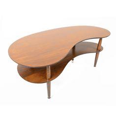 Danish Mid Century Modern Two Tiered Bean Walnut Coffee Table