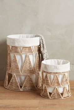 Beautifully handmade linen baskets add a rustic, exotic touch to the abode. Rope Basket, Rattan Basket, Basket Bag, Basket Weaving, Linen Baskets, Willow Weaving, Paper Weaving, Decorative Storage, Furniture Decor