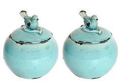 S/2 Round Decorative Bird Jars