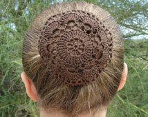 Hair Net / Bun Cover Crocheted Brown Flower Style Amish Mennonite