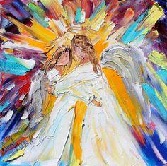 Original oil ANGEL Hugs PALETTE KNiFE painting by Karensfineart