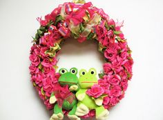 Adorable Spring Wreath with Frogs Hot Pink Silk Rose by SandyNewhartDesigns
