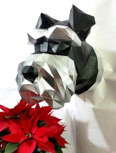 Download & print our template to make your own Schnauzer Paper Glue, 3d Paper, Origami, Miniature Dogs, Paper Magic, Animal Statues, Make Your Own, How To Make, Schnauzers
