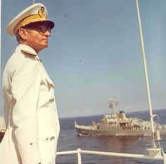 The Late Mohammad Reza Shah Pahlavi, in his Naval suit - Iran Pahlavi Dynasty, The Shah Of Iran, Farah Diba, Navy Uniforms, Imperial Army, King Of Kings, Royal Fashion, Good Old, Old Pictures