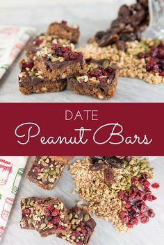 These date peanut bars are so good and almost guilt free! I have been baking with dates so much lately and looooove them!