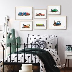 Train Locomotive Wall Art Set for Toddler Boy Bedroom Decor Boys Train Bedroom, Boys Bedroom Decor, Girl Bedroom Designs, Girls Bedroom, Nursery Decor, Nursery Art, Train Bedroom Decor, Train Nursery, Bedroom Ideas