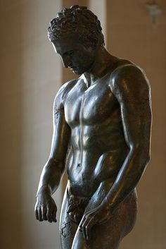 Apoxyomenos: Croatian Apoxyomenos (2nd – 1st century B.C.). Archaeological Museum in Zagreb. The antique bronze statue of an athlete, 192 cm tall, taken from the sea bed between the islet of Vele Orjule and the island of Lošinj on 27 April 1999.