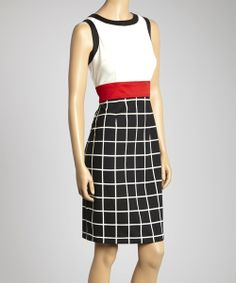Take a look at the London Times Black & White Geometric Sleeveless Dress on #zulily today!