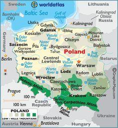 Polska - Map of Poland - carte de la Pologne Poland Map, Poland Travel, Warsaw Poland, Italy Travel, Learn Polish, Polish Language, Visit Poland, Thinking Day, Baltic Sea