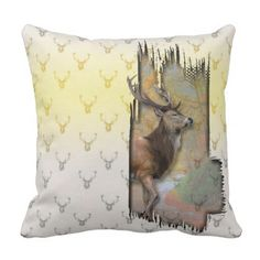 3D Rustic-Print-Pattern of Deer Throw Pillow - diy cyo customize create your own personalize