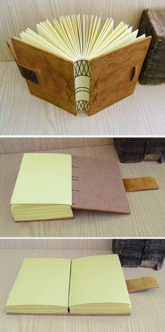 Memories. Antiqued Leather Journal with Exposed Spine, Coptic Stitch. $60.00, via Etsy.
