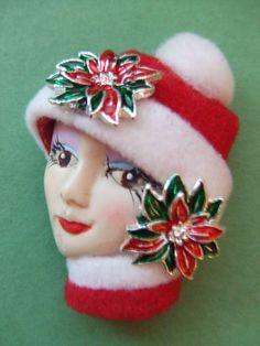 LADY+HEAD+FACE+PIN+RED/WHITE+FELT+HAT+FLOWERS+BROOCH+PORCELAIN+RESIN+++#PinBrooch