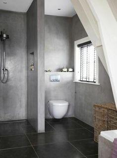 salle de bain en gris anthracite, salle de bain avec douche italienne