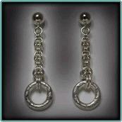 Orecchini in argento Sterling bizantine con cavi, Swirl con texture Anelli.