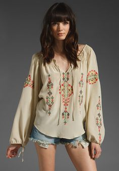 Gorgeous chestnut brunette with heavy fringe, in Parker Native Embroidery Seed Beads Boho Top