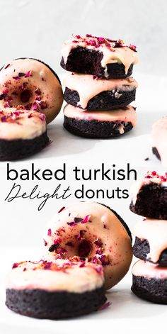 Moist and delicious Vegan Baked Chocolate Donuts topped with a floral Rose Glaze. Easy to make and ready in under 30 minutes. Vegan Dessert Recipes, Donut Recipes, Delicious Vegan Recipes, Vegan Sweets, Desert Recipes, Cheesecake Recipes, Vegan Food, Chocolate Donuts, Chocolate Recipes