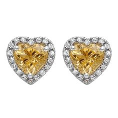 Elora 10k Gold Citrine and 1/4ct TDW Diamond Heart Halo Stud Earrings