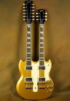 Gibson Custom goldtop double neck with nice cream pickguard Gibson Electric Guitar, Custom Electric Guitars, Gibson Guitars, Fender Guitars, Custom Guitars, Acoustic Guitars, Gibson Sg, Gibson Les Paul, Rare Guitars