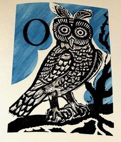 'And O marks the Owl' by Enid Marx from 'Marco's Animal Alphabet'. Linocuts by Enid Marx. Colour scheme by Peter Allen. Introduction by Graham Moss, 2000 (Incline Press). Graphic Design Illustration, Illustration Art, Marianne, Animal Alphabet, Owl Art, Art Lessons, Illustrations Posters, Illustrators, Printing On Fabric