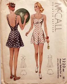 McCall 3220   1939 Misses' Bathing Suit