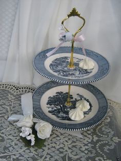WEDDING ORIENTAL BLUE WILLOW VINTAGE CHINA SALE 2 TIER CAKE CANDIES MINT STAND #BLUEWILLOW