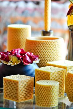 our pure beeswax honeycomb candles  www.volcanicacandles.com