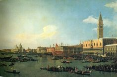 Tableaux sur toile, reproduction de Canaletto, The Bucintoro Preparing To Leave The Molo On Asce