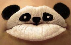 Lip Art Panda = Pretty Cool + White lips kinda look sexy? Lip Art, Lipstick Art, Lipsticks, Lipstick Tricks, White Lipstick, Lipstick Style, Lipstick Designs, Lip Designs, Makeup Designs