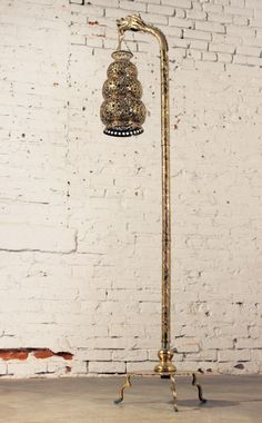 (Warehouse 414) Tibetan Hammered & Pierced Brass Dragon Lantern Style Floor Lamp: Amazing hammered and pierced brass dragon floor lamp in a hanging lantern style. In wonderful age appropriate condition -  #lamp #floorlamp #dragon #lantern #brass