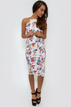 White Floral Backless Bodycon Midi