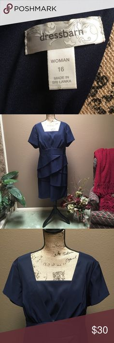 """Little 'Navy' Dress Bodice is a V-shape with sewn in drape. Shirting is in a crisscross ruffle effect. Skirt is attached to bodice with a medium wide waistband. Solid Navy in color. I've only tried it on a few times but never wore it anywhere. I'm 5'4"""" and this dress fits me right below my knees. Very comfortable dress! I'm only selling b'cuz I never go anywhere to where it. I bought from Dressbarn.  Size - 16 Original Price - $56 Dress Barn Dresses"""