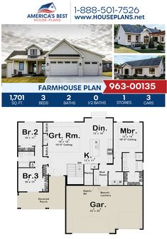 A classic 1-story Farmhouse, Plan 963-00135 delivers 1,701 sq. ft., 3 bedrooms, 2 bathrooms, a mudroom, a large pantry, and a 3 car garage. #farmhouse #onestoryhome #architecture #houseplans #housedesign #homedesign #homedesigns #architecturalplans #newconstruction #floorplans #dreamhome #dreamhouseplans #abhouseplans #besthouseplans #homesweethome #buildingahome #buildahome #residentialplans #residentialhome Modern House Floor Plans, Best House Plans, Dream House Plans, Small House Plans, My Dream Home, Coastal Farmhouse, Farmhouse Plans, Cottage House Plans, Cottage Homes