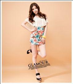 Korea Chiffon Stylish Flower Printing Dress