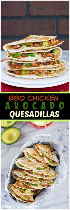 BBQ Chicken & Avocado Quesadillas - melted cheese, barbecue chicken, & avocados make an easy dinner recipe.  Great meal idea for busy nights!