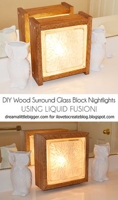 Wood Surround Glass Block Nightlight Featuring Liquid Fusion!