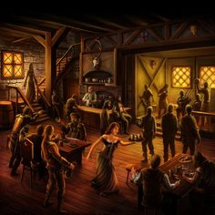 RPG Tavern with bard audio atmosphere Fantasy Inn, Dark Fantasy, Fantasy Places, Medieval Fantasy, Fantasy World, Forgotten Realms, Skyrim, Dungeons And Dragons, Taverna Medieval