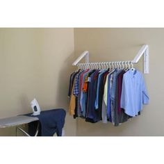 QuikCLOSET White ABS Plastic Collapsible Wall Mounted Clothes Hanging System (3-Piece)-AH3X12/M - The Home Depot